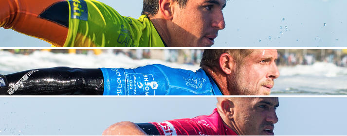 Gabriel Medina (BRA) - Mick Fanning (AUS) - Kelly Slater (USA)                                                           Photo Cred: World Surf League