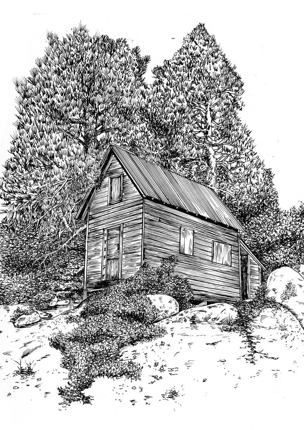 Famous fishing cabin in Green Valley Lake, California. Painted and drawn by a number of artists over the years, famous watercolor artist Robert E. Wood being one of them. Here's my rendition.