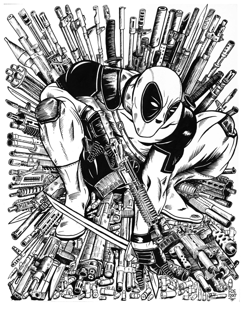 I grew up reading Marvel comics, and always wanted to see a mash up of Deadpool based on the Todd McFarlane Spiderman #1 cover. I took matters into my own hands and drew this one out myself.