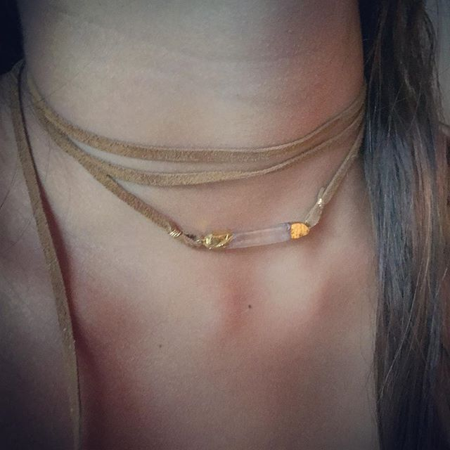 """Riley necklace. Perfect """"go to"""" accessory! #jewelrydesigner #fashionblogger #boutiquejewelry #boutiquestyle #chokernecklace #chokertrend #shopnorajames #norajamesjewelry #lookoftheday #style #bloggerstyle #wrapnecklace #bohojewelry #bohostyle"""