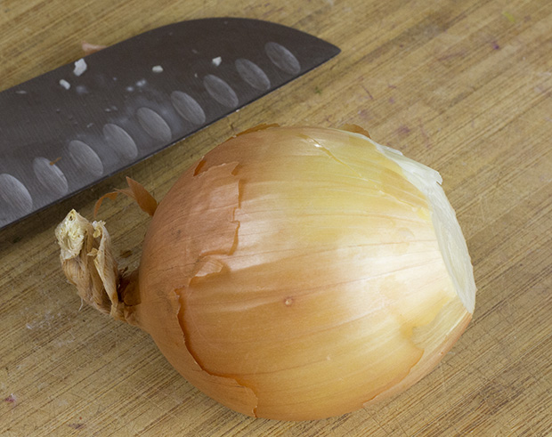 chopping an onion