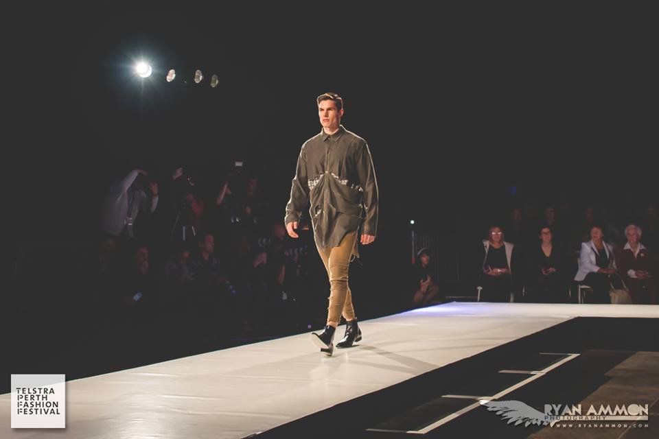 Behind the Front Line Green Outfit in 'RTW Men's' at Telstra Perth Fashion Festival, 2014. Photo: Ryan Ammon Photography