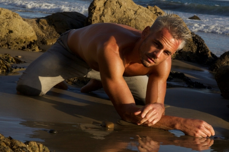 Malibu Beach, California.  Photoshoot for Blake Magazine, Paris, France.  Model:  French Actor/Model:  Anthony Royer