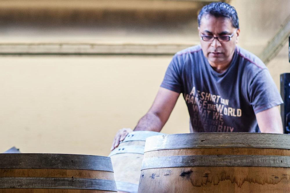 Dr. Singh in his barrel room