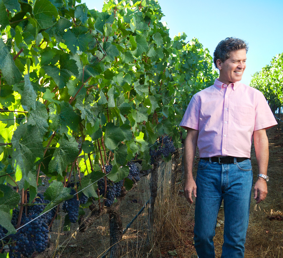 Paul Hobbs in his vineyard