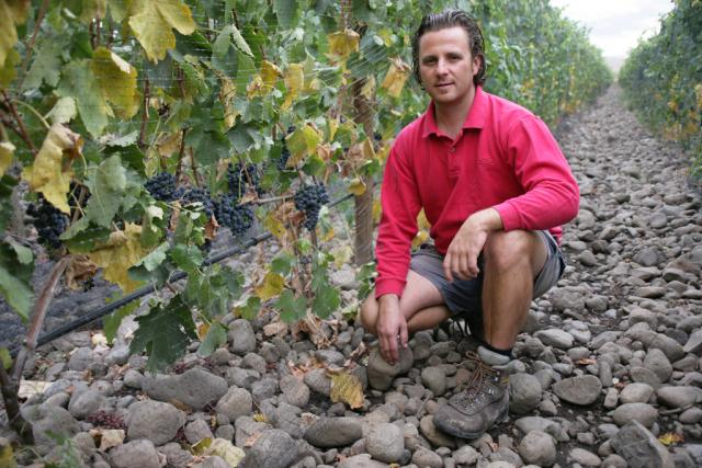 Superstar winemaker, Christophe Baron, in his vineyard, located in the rocks region of the Walla Walla valley