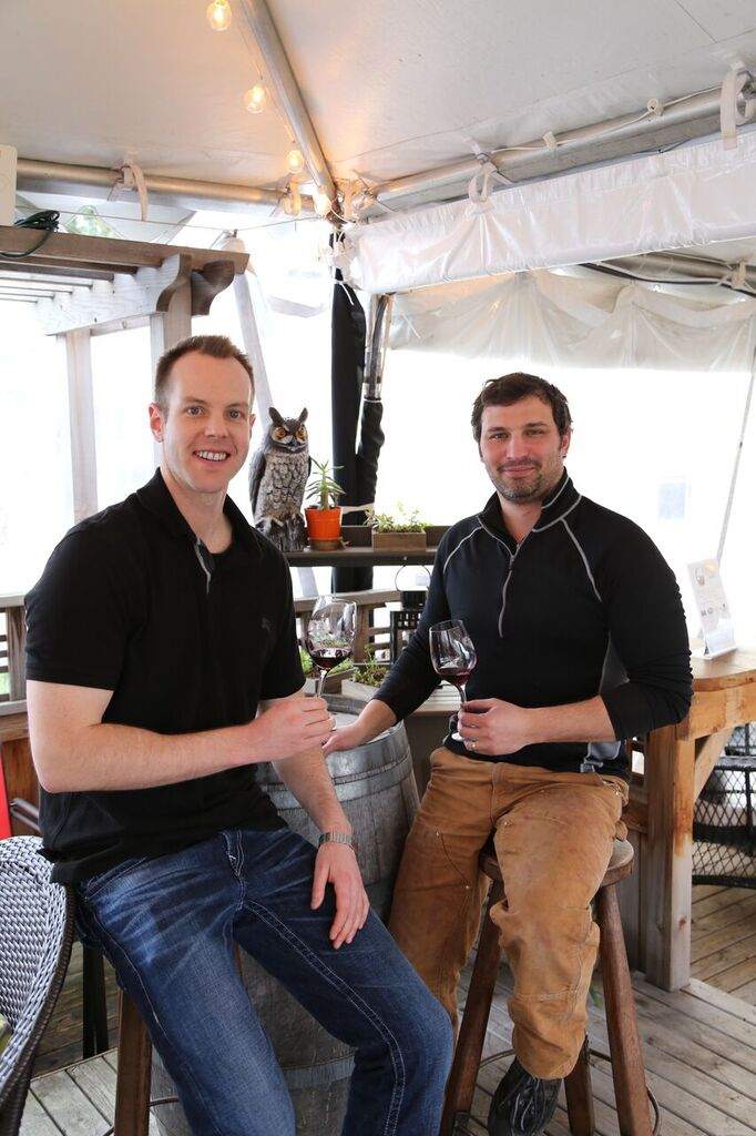 Tasting wine with DeLille production winemaker, Jason Gorski (on the right), at the DeLille Carriage House in Woodinville
