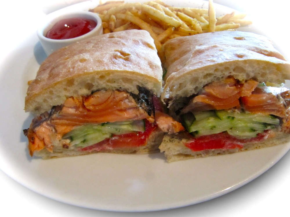 The absolutely delightful salmon sanwich at Purple Cafe.