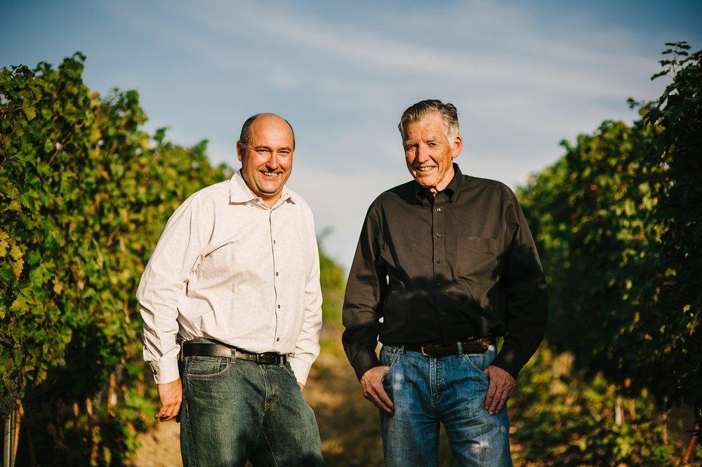 Amavi Cellars head winemaker Jean François Pellet and Amavi founder Norm McKibben (R) in their vineyards.