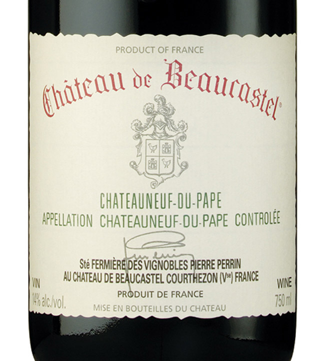 Iconic label of Chateau de Beaucastel, one of the great wines from the Southern Rhone
