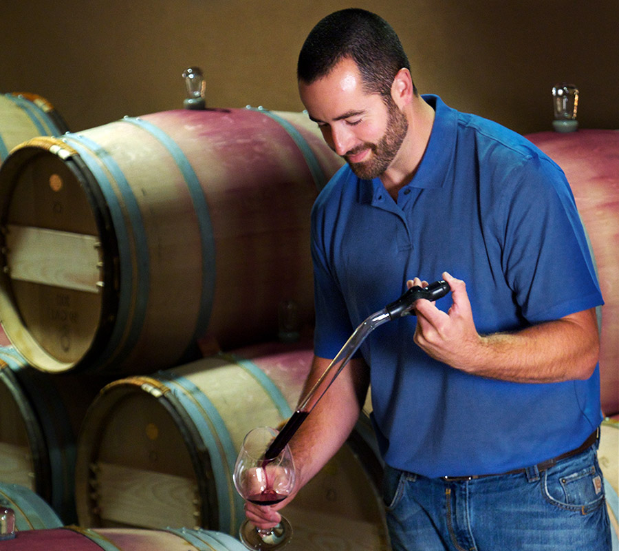 Fantastic picture here of Will Wiles in the Col Solare barrel room