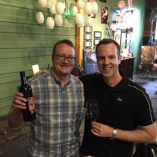 Sampling the great new Dunham releases with Dunham Cellars General Manager, John Blair (L).