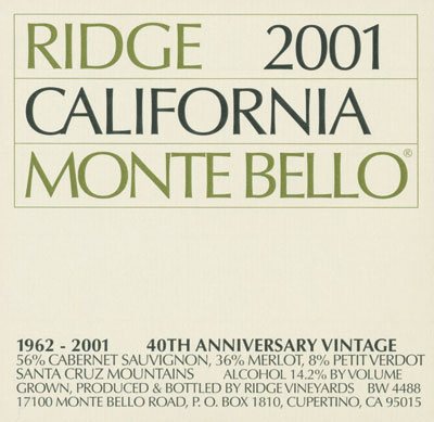 Iconic label for all Ridge wines. Their new 2013 'Monte Bello' Cabernet (WWB, 95) was a stunning wine that will be exceedingly long-lived.