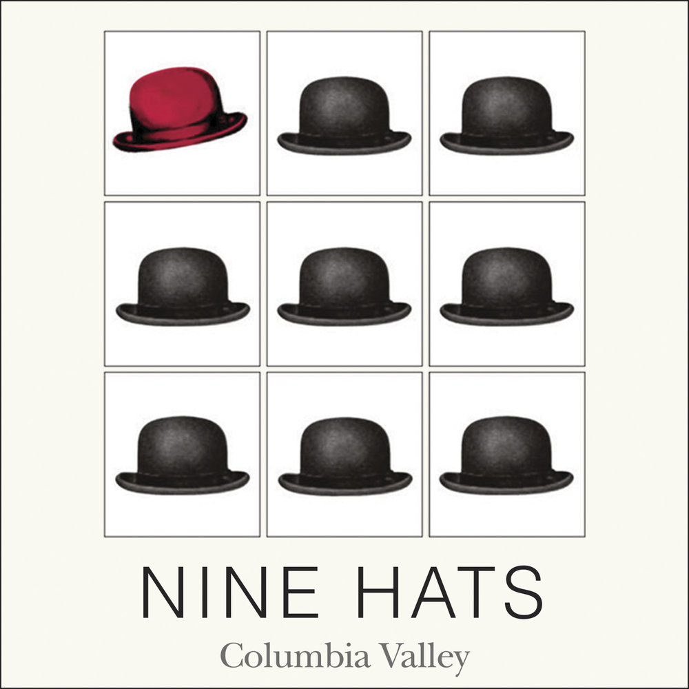 Hip label for all Nine Hats wines.
