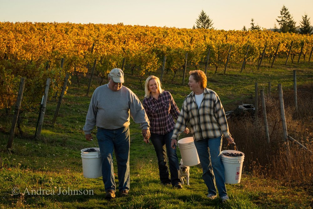 Gorgeous shot here of the Kramer Family during their harvest (photo by Andrea Johnson).