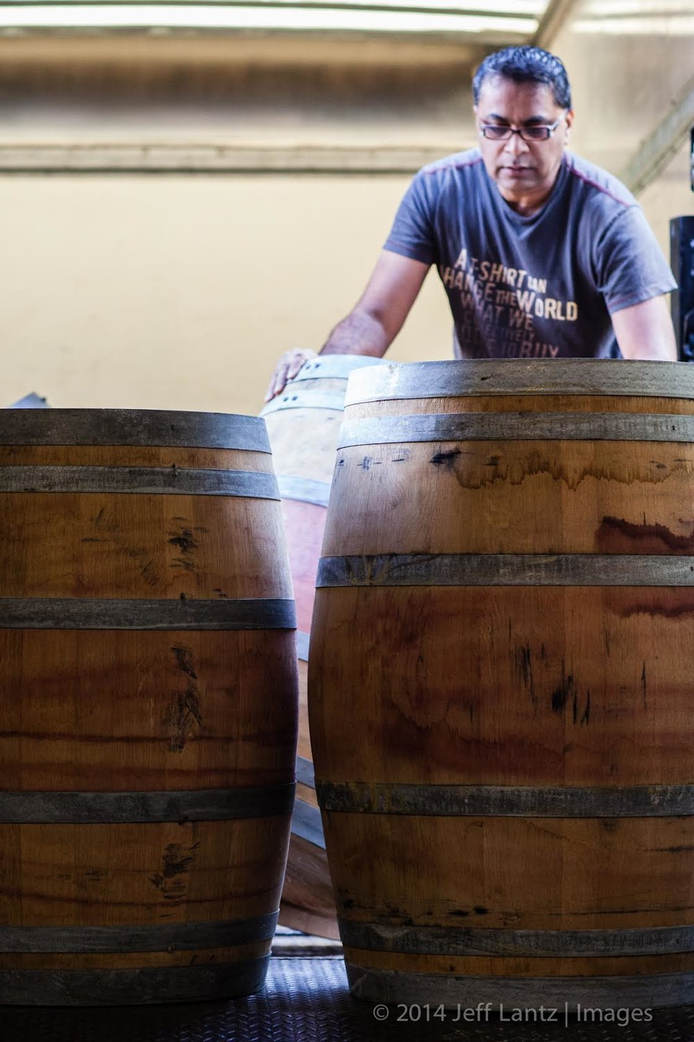 Great photo here of Dr. Kit Singh in his barrel room (photo by Jeff Lantz).