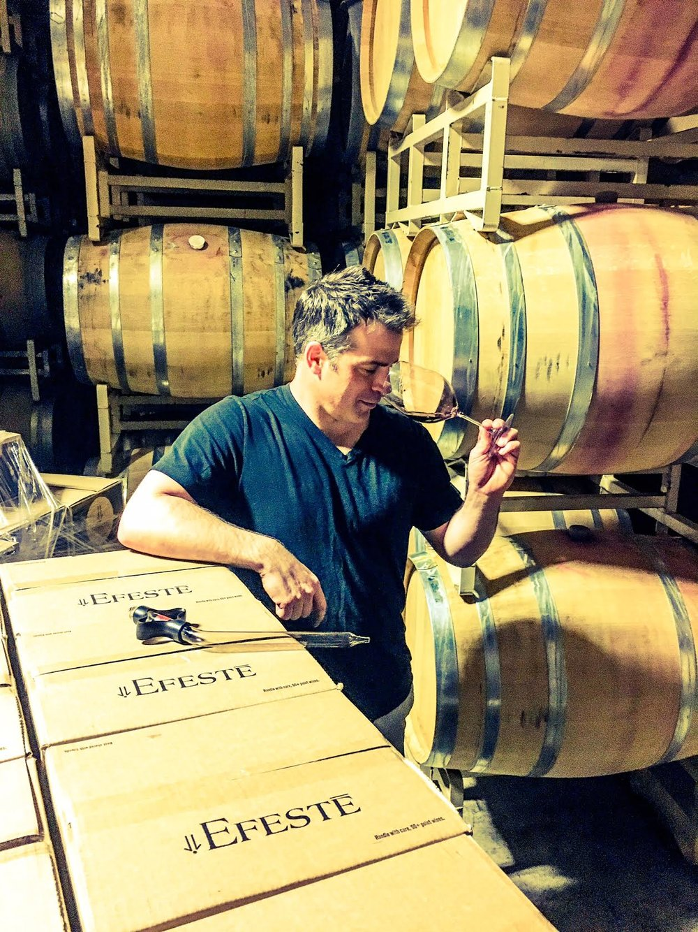 While I am hardly artistic I think I grabbed a killer photo of superstar winemaker of EFESTĒ, Peter Devison