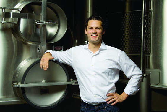 Great photo here of Canvasback winery head winemaker, Brian Rudin.