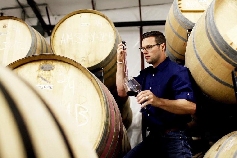 Great photo here of Aryn Morell in his barrel room