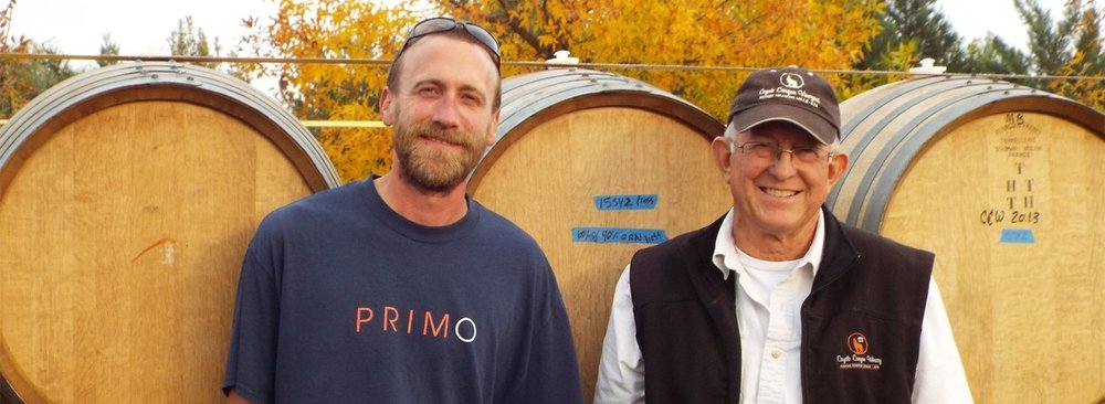 Justin Michaud (L) serves as winemaker for Coyote Canyon and has a longstanding history in the wine industry, previously working for Kim Crawford as well as Goose Ridge in Washington.
