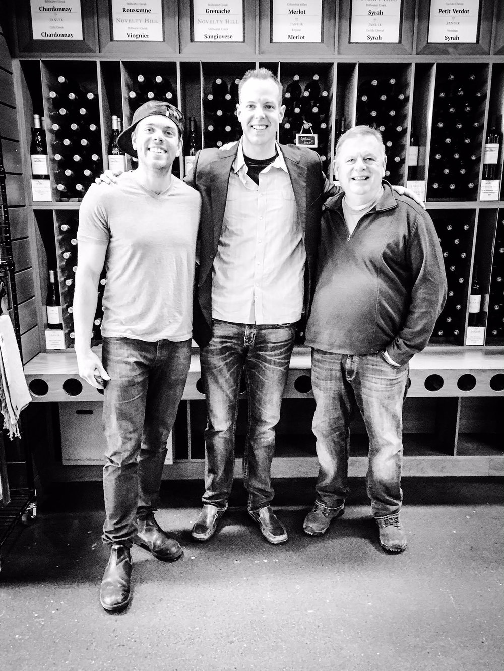 Here I am pictured with superstar winemakers Andrew Januik (L) and Mike Januik (R). Mike Januik is the former winemaker for Chateau St. Michelle and Col Solare.