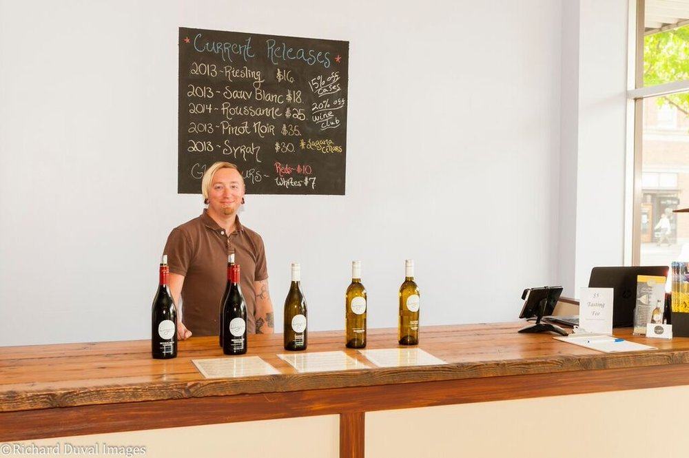 Great photo here of Jason Fox in his tasting room (Photo by Duval Images).