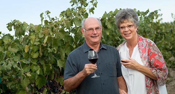 Great shot of two of the Gordon Estate founders, Jeff and Vicki Gordon, in their vineyard.