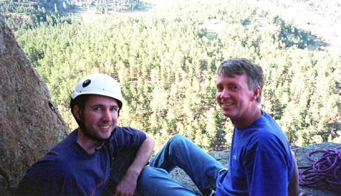 Great photo of Soos Creek winemaker, David Larsen (R) pictured here with his son, David Jr. climbing the Devil's Tower in Wyoming.