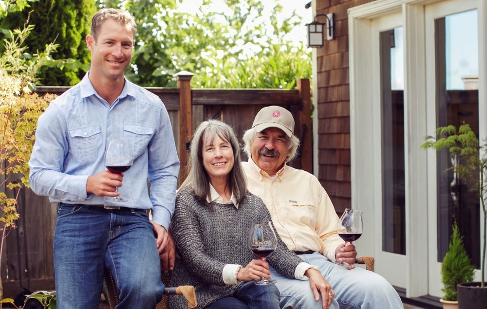 Great photo here of winemaker Jesse Lange (L) with his parents Wendy and Don Lange at their winery.