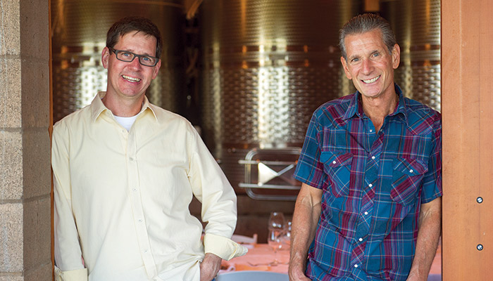 Fantastic photo here of Alloro Vineyard winemaker Tom Fitzpatrick (L) with Alloro CEO and vineyard manager, David Nemarnik (R) at their winery.