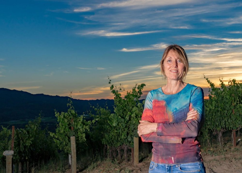 Great photo here of Delia Viader, who along with her son, Alan Viader, crafts one of the great Napa Valley red wines, the 2015 Viader 'Proprietary Red' Red Wine (WWB, 95) which showcases great poise, richness and Napa terroir (photo by Napa Valley Register).