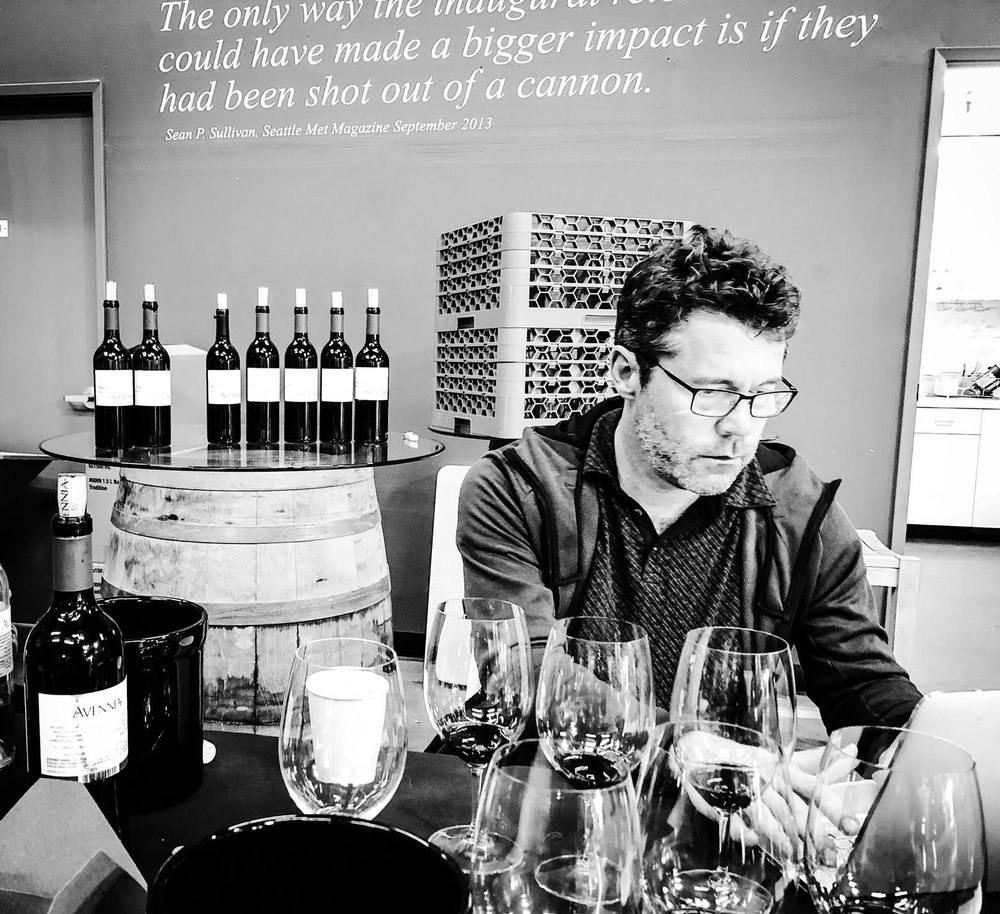 Great photo here of superstar winemaker, Chris Peterson, making some tasting notes during our vertical tasting of the Avennia 'Sestina' Red Wine. This wine ages gracefully in the cellar.