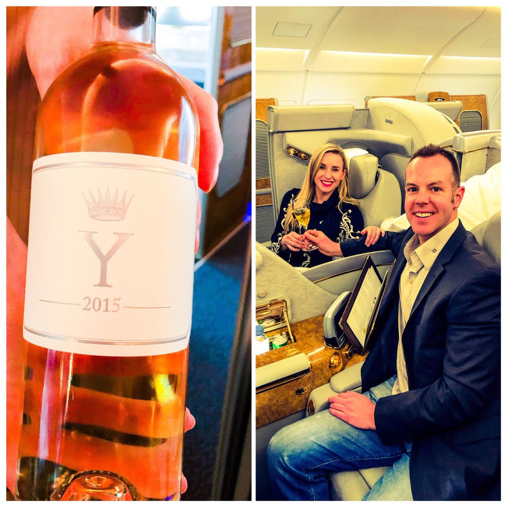 We had the opportunity to sample one of the great wines of the world, the 2015 'Ygrec' by Chateau d'Yquem, on our first class flight from Barcelona to Dubai.