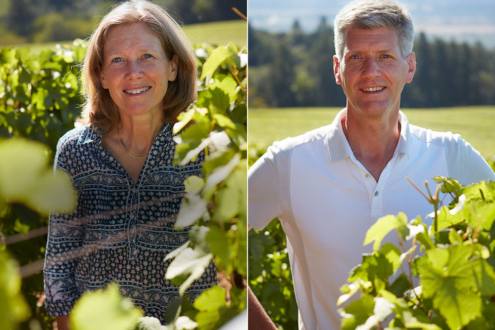 Great photo here of Domaine Drouhin Oregon winemaker Veronique Boss-Drouhin and her brother, viticulturist Philippe Drouhin.