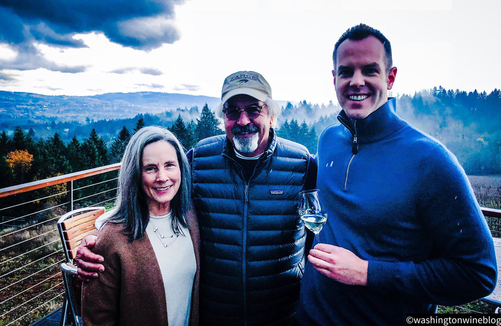 Here I am pictured with some of the nicest people in Oregon wine, Lange Estate founders Wendy and Don Lange.