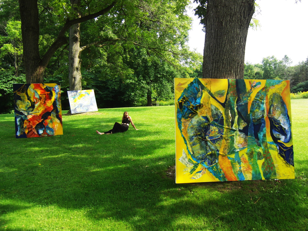 Installation image:  Organic Abstractions  in the yard (from front to back: Seaweed in the Sunshine,  the artist, Koi on the Silk Road, After Continents Collide ), Scottsville New York, 2015, photo credit: Chloe Smith