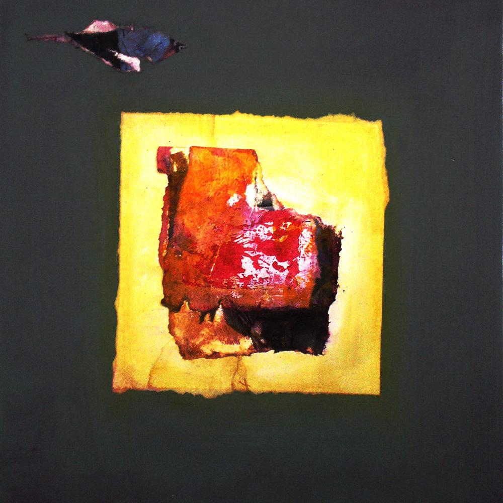 "Little Bird,  2014, digital print, monotype and collage., 12"" x 12"" (30cm x 30cm), Private Collection, Paris, France"
