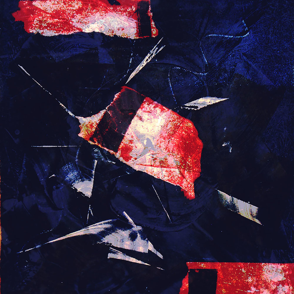 """Red Cardinal,  2014, digital print, monotype and collage., 12"""" x 12"""" (30cm x 30cm)"""