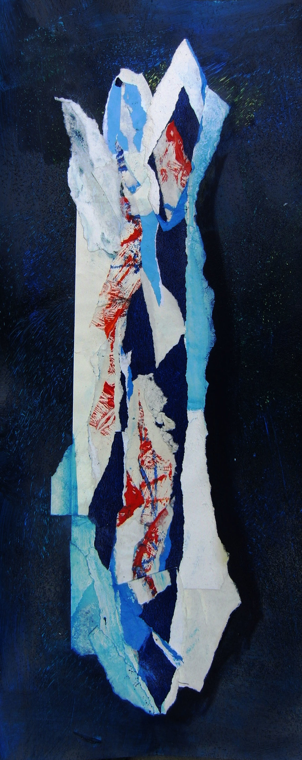 "Sea Bird No. 1,  2015, monotype, collage, 9"" x 16"" (23cm x 41cm), private collection, Paris, France"