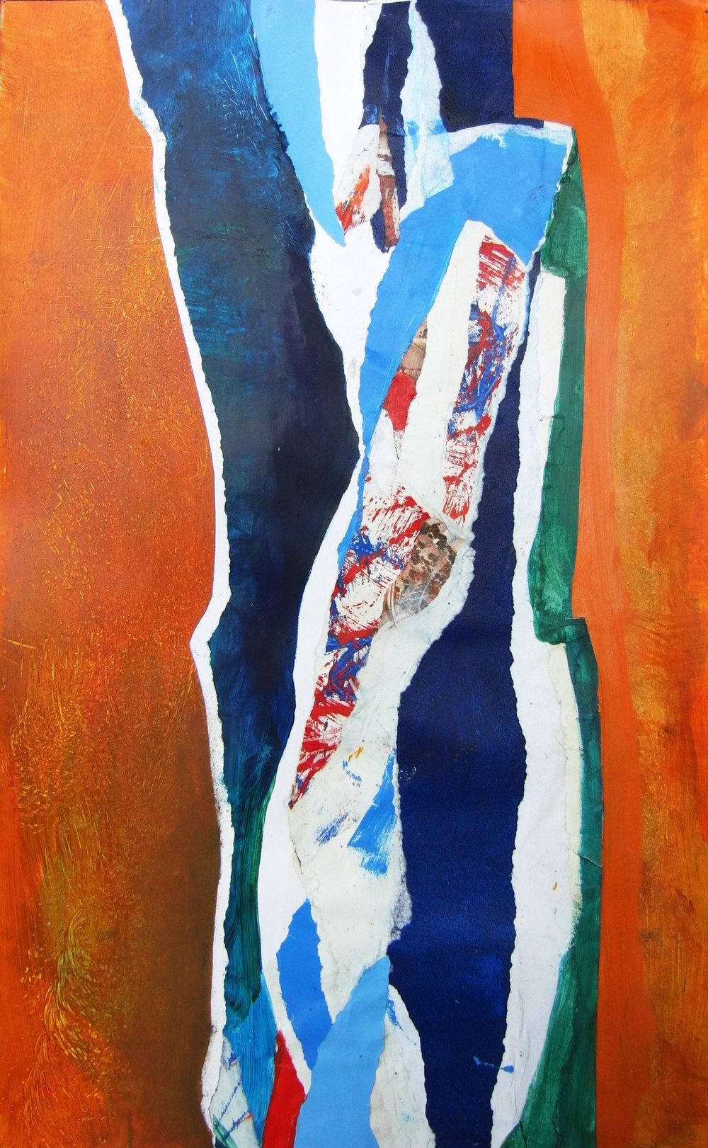 """Iris Bud Sunrise,  2014,   monotype, collage, 18"""" x 24"""" (46cm x 61cm)"""