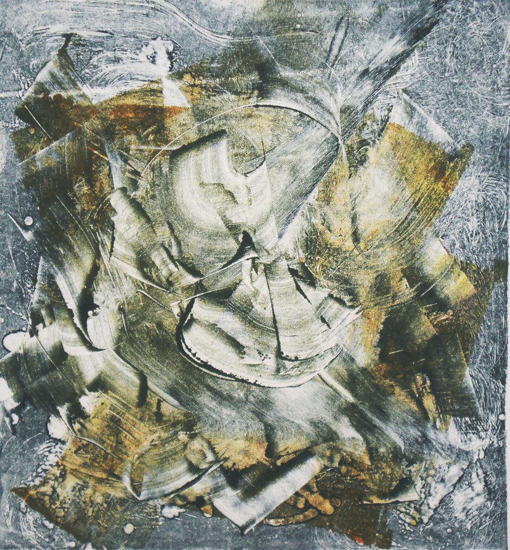 "Ultrasound,  2014, monotype, 12"" x 12"" (30cm x 30cm)"