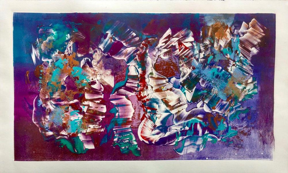 "Chaos in Purple,    monotype print, 18 x 24"" (45.72 x 60.96cm)"