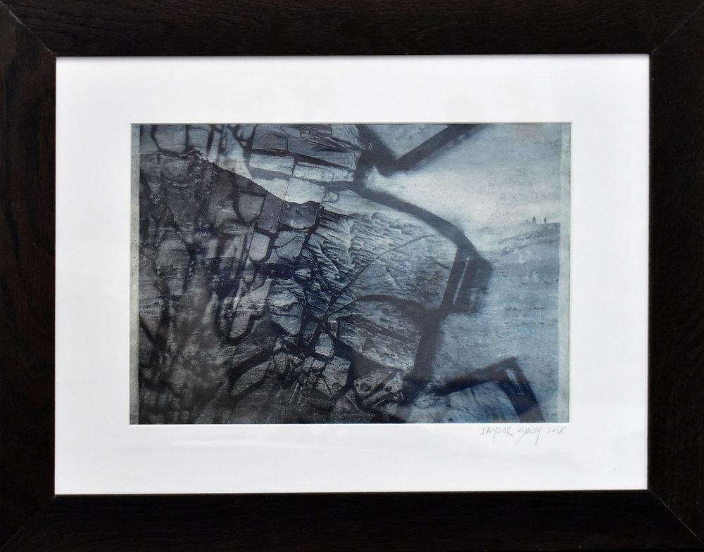 Study No. 8 (crystals and Icelandic landscapes),  2018. Photo-etching. Superposition of a microscopic photograph of polymer crystals crushed under glass (courtesy, chemist Bastiaan Buddingh', PhD) and photograph of the geothermal landscapes of Myvatn, Iceland taken by me.