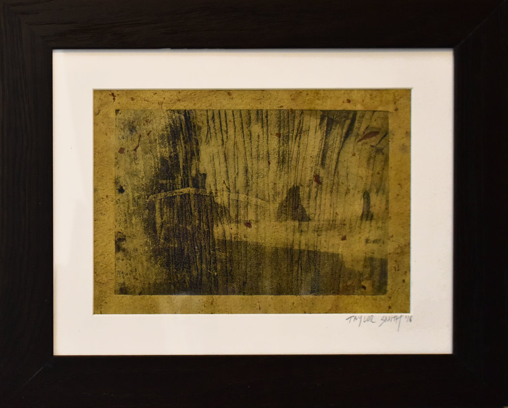 Study No. 3a (Icelandic Geology),  2018. Water lily printed on a photo etching of Icelandic landscape superposed with macroscopic photo of Icelandic basalt columns, printed on paper dyed with hand-collected and crushed rose petals.