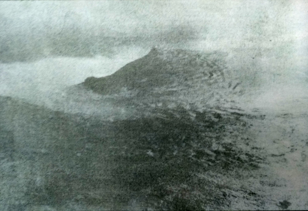 Gum bichromate print study (A whirlpool of the coast of the Cap Frehel, France superposed with Icelandic landscape (Myvátn), 2018