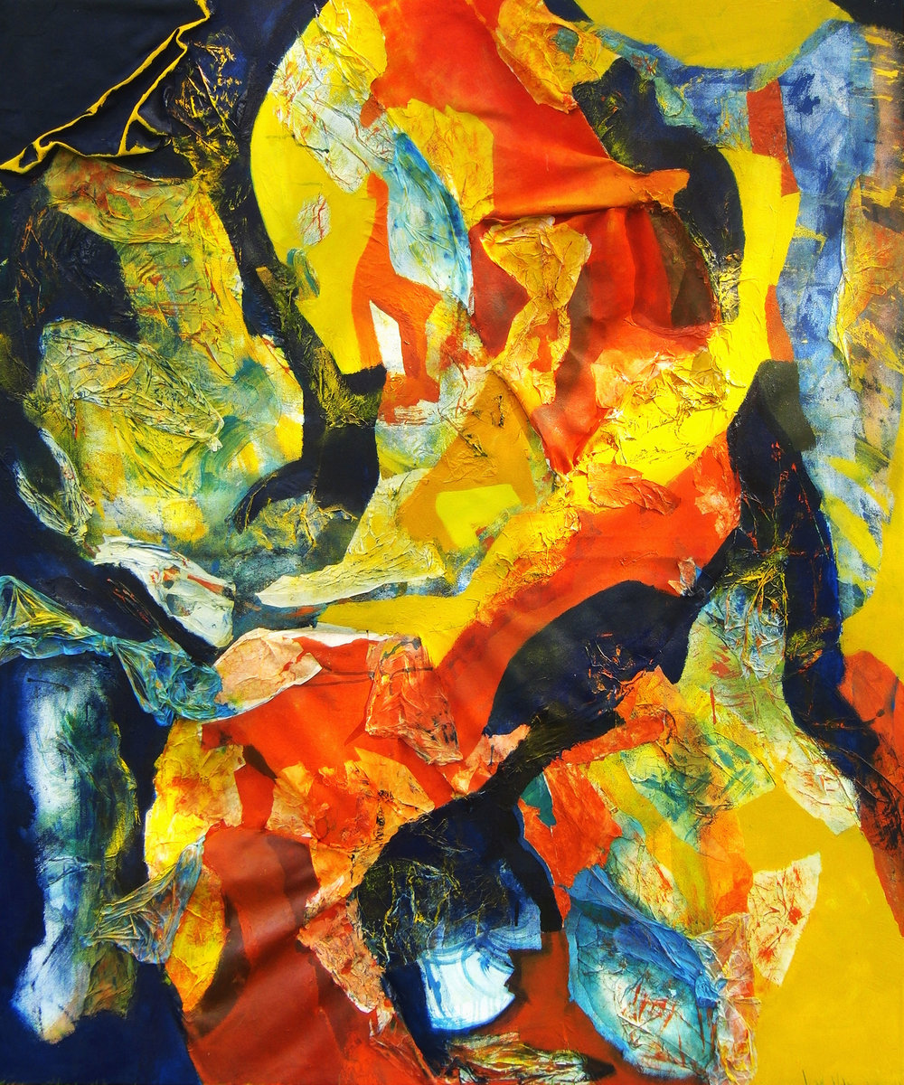 Koi on the Silk Road,  2015, oil, acrylic, paper, plastic bags and pigment powder on canvas, 5' x 6' (1.5m x 1.8m), private collection, Boston, Massachusetts