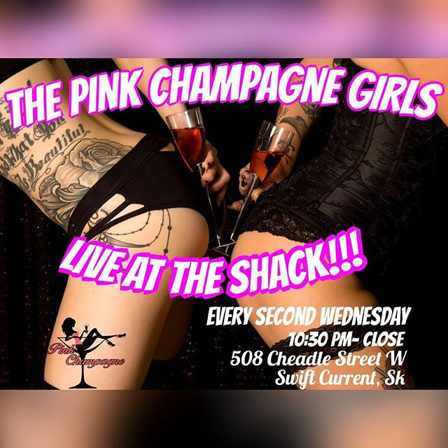 Brrrrrr....... It gets really cold here in Saskatchewan....what do we do to stay warm? We head on down to The Shack every Wednesday for some sexy entertainment, hooter shooters and private dances!!! Best of all every second Wednesday it's The Pink Champagne Girls keeping you toasty warm!  Cum on down this Wednesday to escape the cold with us! 🥂 #pinkchampagnegirls #pinkgirls #sexyladies #babes #babesofinstagram  #tattoos #tattooeddancers #dancers #strippers #strip #saskstrippers #canadianstrippers #canadianchickswithink #igbabes #sexy #exoticdancer #instagood #instalike #instababes #inked #inkedstrippers #inkeddancers #hot #smokin #butts #boobs #bums #twerk #poledancing #poledance