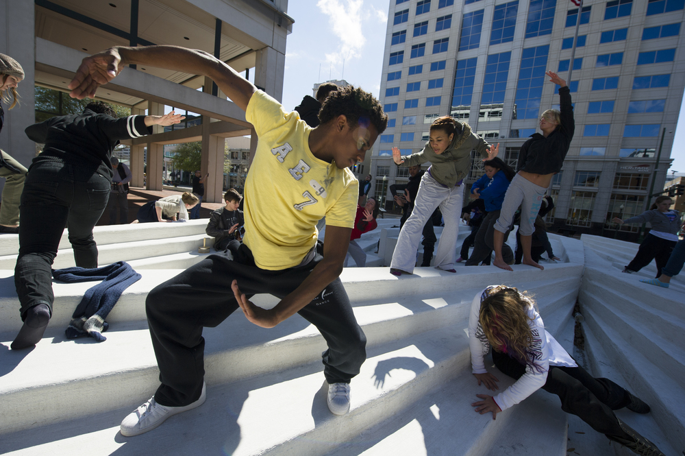 "Dancers participate in an ""improv jam"" on Granby Street by the Federal Building in Norfolk on Friday, March 11, 2011.  (Jonathen E. Davis 
