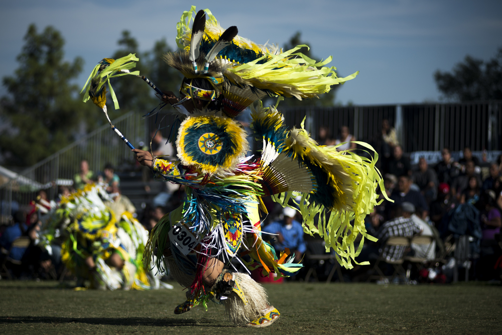 SAN BERNARDINO, Calif. -- Lukas Lonetree of Tulsa, Okla., wears a ceremonial dress as he dance for spectators attending the San Manuel Pow Wow at Cal State, San Bernardino on Saturday, Oct. 13, 2012. Native Americans from across North America traveled to Southern California to celebrate their culture at the three-day event. (Photo by Jonathen E. Davis/Brooks Institute ©2012)
