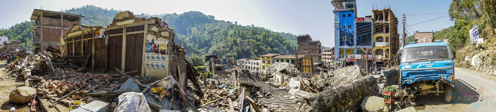 A town that was ravaged by the first 7.8 earthquake in Nepal.